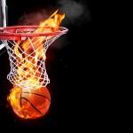 Flaming basketball