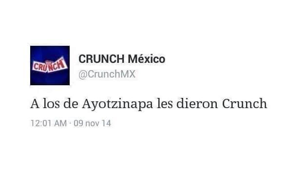 Tweet de Crunch Sobre Ayotzinapa