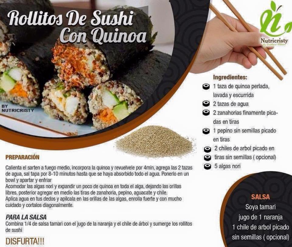 rollitos sushi con quinoa