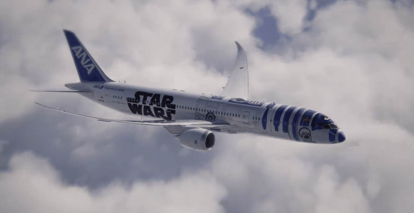 avión de all nippon inspirado en star wars